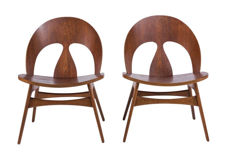 Pair of Early Børge Mogensen Plywood Lounge Chairs for Erhard Rasmussen 3