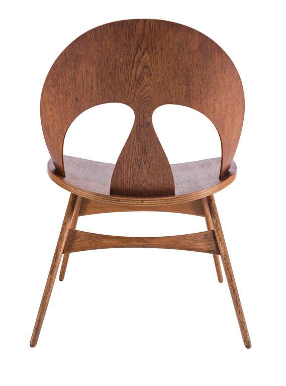 Scandinavian Modern Pair of Early Børge Mogensen Plywood Lounge Chairs for Erhard Rasmussen
