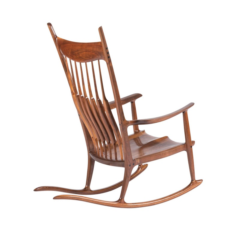 Mid-Century Modern Early and Unique Sam Maloof Rocker, 1977
