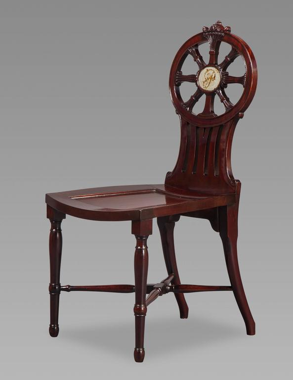 English Gillows: Magnificent and Rare Set of Mahogany Hall Chairs, circa 1790 For Sale