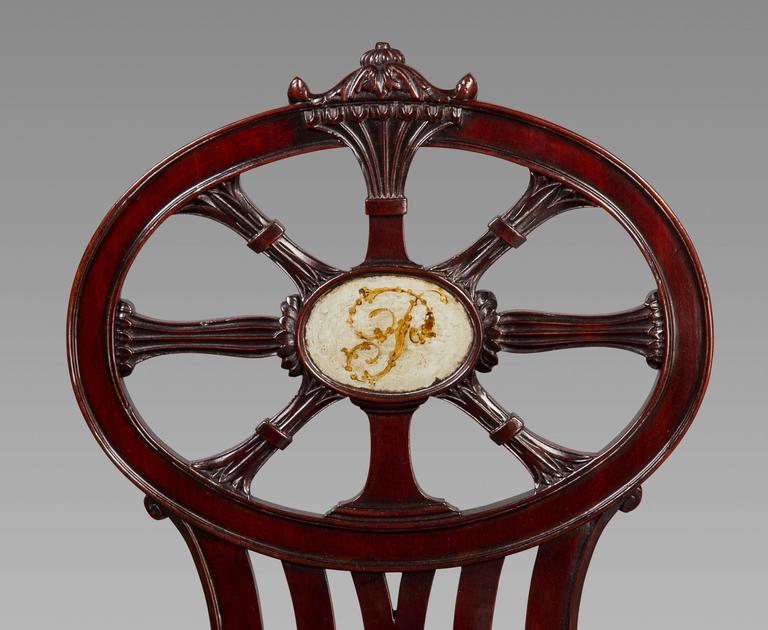 Georgian Gillows: Magnificent and Rare Set of Mahogany Hall Chairs, circa 1790 For Sale