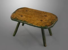 Early 19th Century Beech and Green Painted Primitive Large Stool