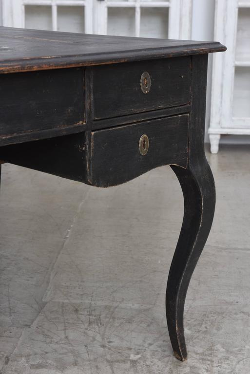 Antique Swedish partner writing desk early 19th century refreshed in the  original black color. The - Large Antique Swedish Writing Desk, Early 19th Century At 1stdibs