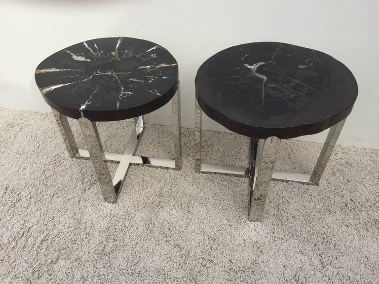 American Pair of Petrified Wood Black & Crème Vein Top Chrome Handmade Petite Side Tables For Sale