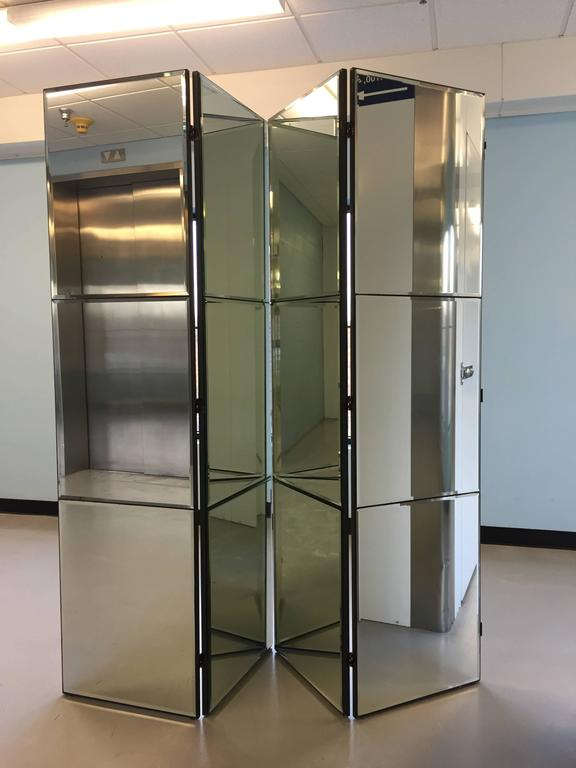 Beveled Mirrored Screen Room Divider at 1stdibs