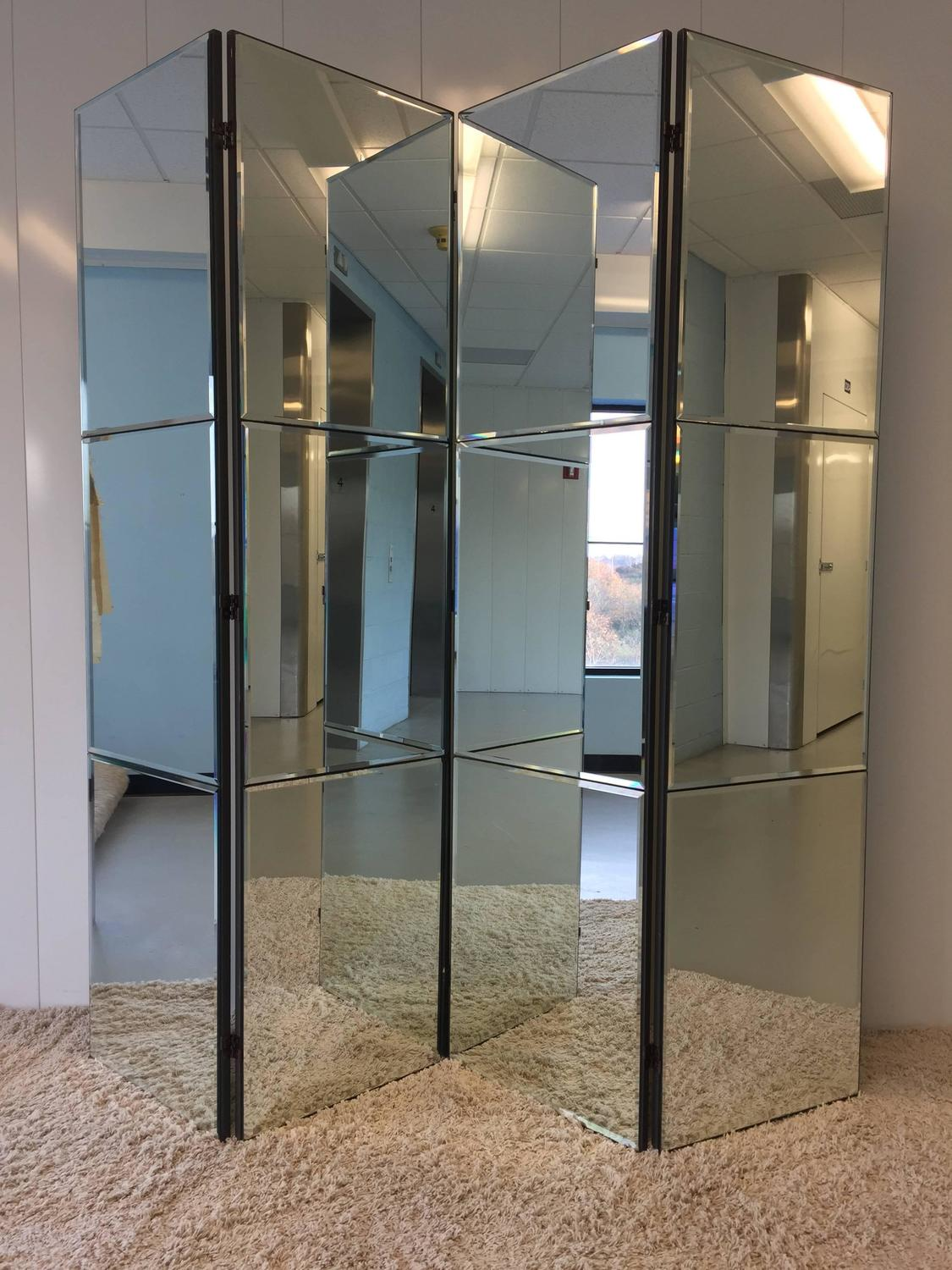 Beveled Mirrored Screen Room Divider For Sale At 1stdibs