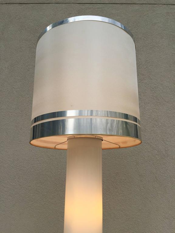 1960s rare italian white glass chrome lighted column base floor lamp mid century modern 1960s rare italian white glass chrome lighted column base floor lamp for aloadofball Gallery