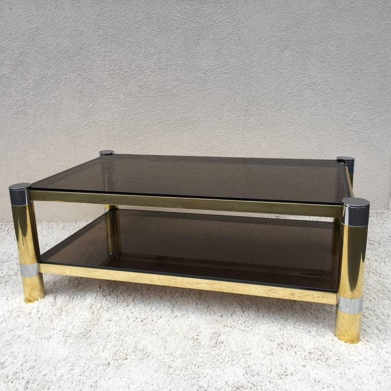 Karl Springer Two-Tier Coffee Tablen Polished Nickle/Brass