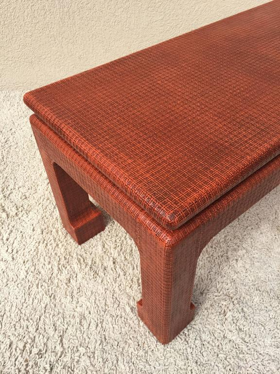 Grasscloth Karl Springer Style Grass Cloth Petite Table or Bench, Orange Lacquer For Sale
