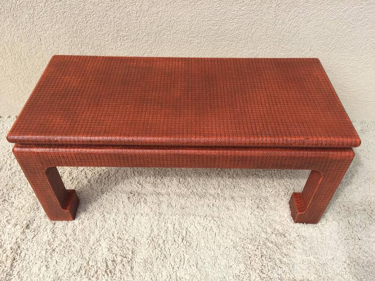 American Karl Springer Style Grass Cloth Petite Table or Bench, Orange Lacquer For Sale
