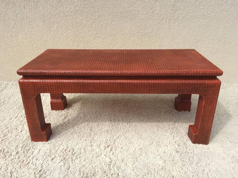 Karl Springer style orange lacquer grass cloth parsons petite table or bench, in very fine condition, no marking but from a home decorated by Karl Springer in Bridgehampton LI.