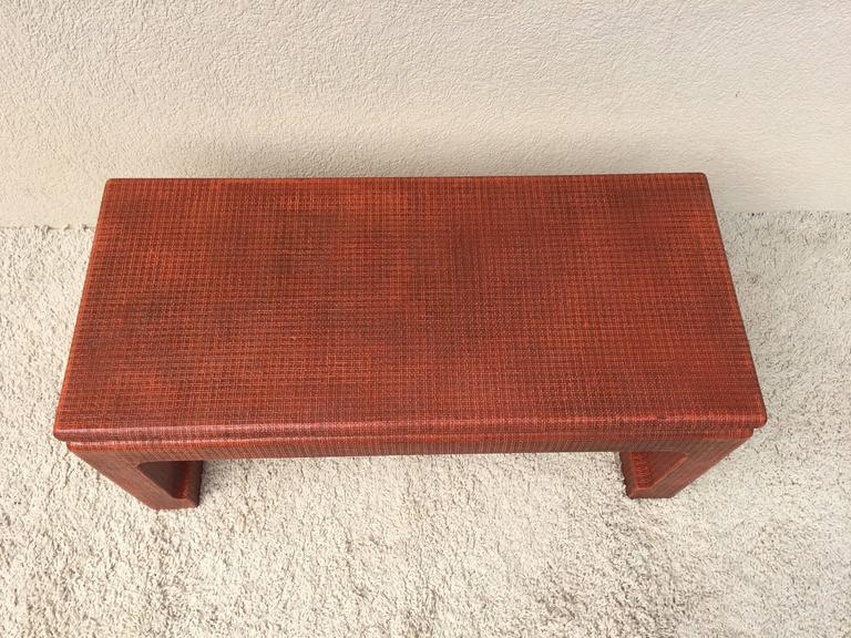 20th Century Karl Springer Style Grass Cloth Petite Table or Bench, Orange Lacquer For Sale