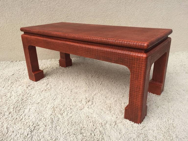 Mid-Century Modern Karl Springer Style Grass Cloth Petite Table or Bench, Orange Lacquer For Sale