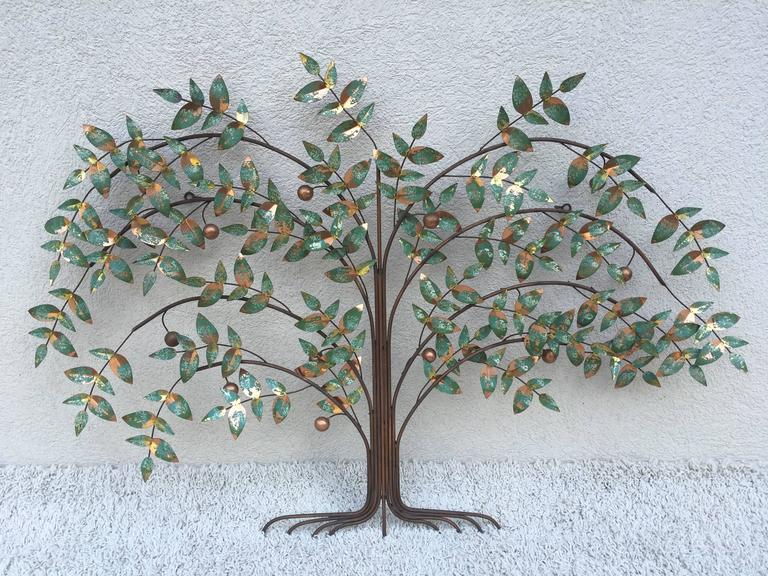 Curtis Jere tree of life wall sculpture, in copper and green patina and brass highlights, dated 1977, in original condition.