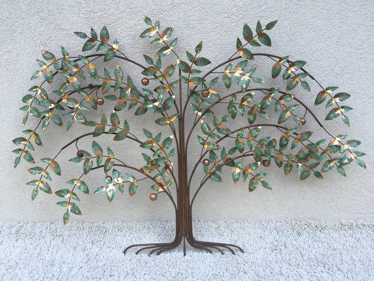 Copper Curtis Jere Tree of Life Wall Sculpture For Sale