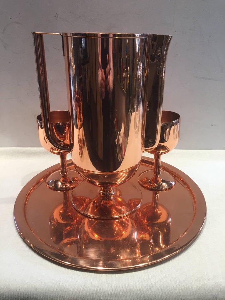 Polished Norman Bel Geddes Copper Art Deco Cocktail or Drinks Set For Sale