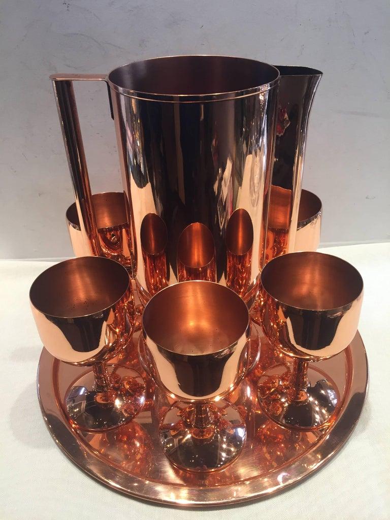 American Norman Bel Geddes Copper Art Deco Cocktail or Drinks Set For Sale