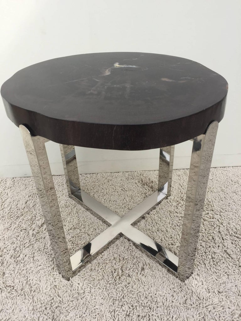 Polished Pair of Petrified Wood Black & Crème Vein Top Chrome Handmade Petite Side Tables For Sale
