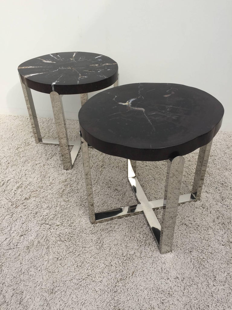 Mid-Century Modern Pair of Petrified Wood Black & Crème Vein Top Chrome Handmade Petite Side Tables For Sale