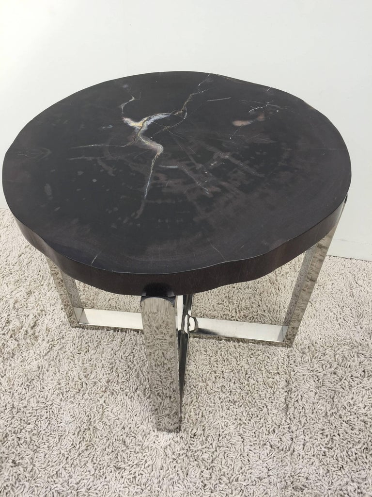 Pair of Petrified Wood Black & Crème Vein Top Chrome Handmade Petite Side Tables For Sale 1