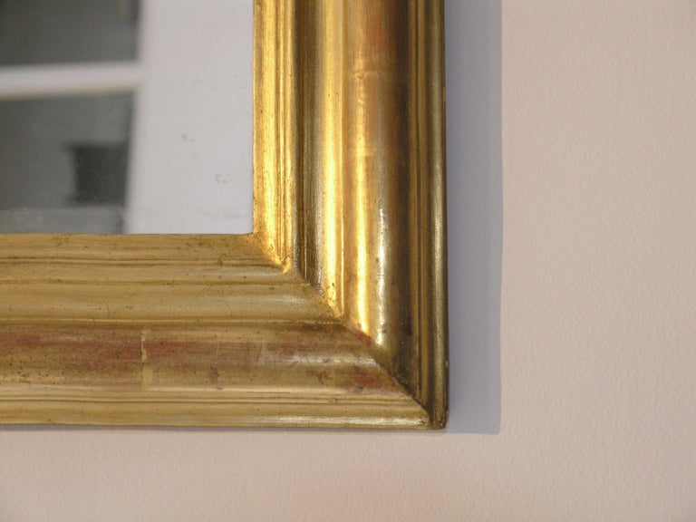 24-Karat Gold Leafed Louis Philippe Mirror In Excellent Condition For Sale In Los Angeles, CA