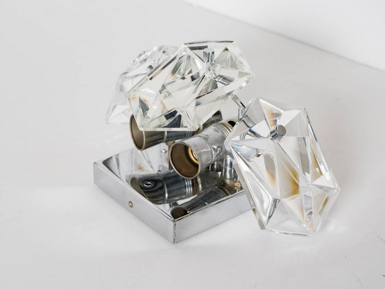 Mid-20th Century Pair of Petite Faceted Crystal Sconces Designed by Kinkeldey For Sale