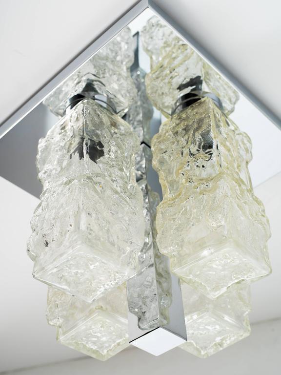 Hand-Crafted Brutalist Mid-Century Modern Flush Mount Chandelier by Kalmar For Sale