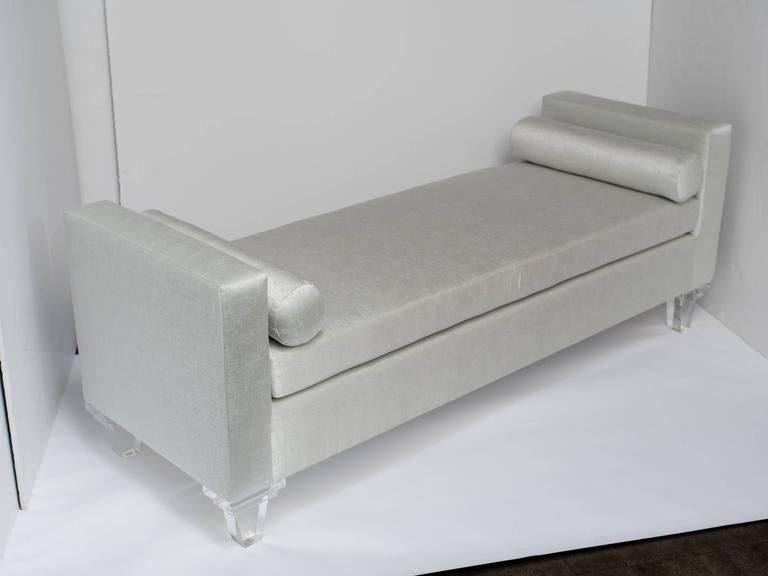 Mid-Century Modern Mid Century Modern Style Upholstered Chaise Lounge Lucite Legs For Sale