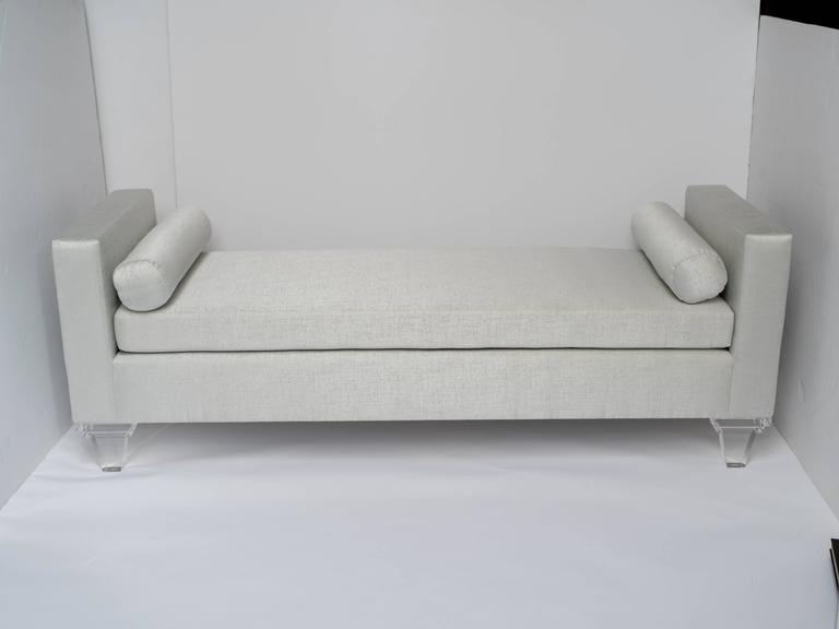 American Mid Century Modern Style Upholstered Chaise Lounge Lucite Legs For Sale