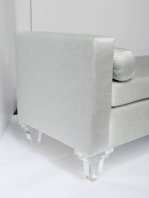 Polished Mid Century Modern Style Upholstered Chaise Lounge Lucite Legs For Sale