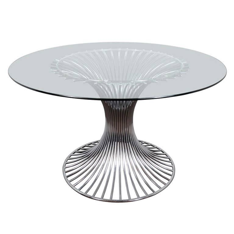 Mid-Century Modern Circular Dining Table with Sculptural Chrome Base For Sale