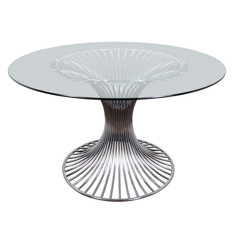 Mid Century Modern Circular Dining Table With Sculptural Chrome Base At 1stdibs