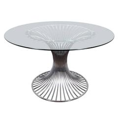 Mid-Century Modern Circular Dining Table with Sculptural Chrome Base