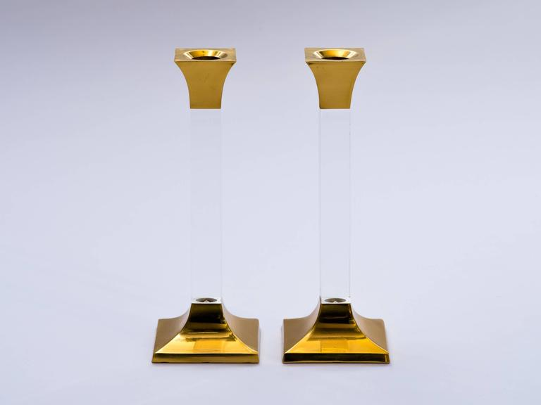 Pair of Vintage Brass and Lucite Candleholders 2