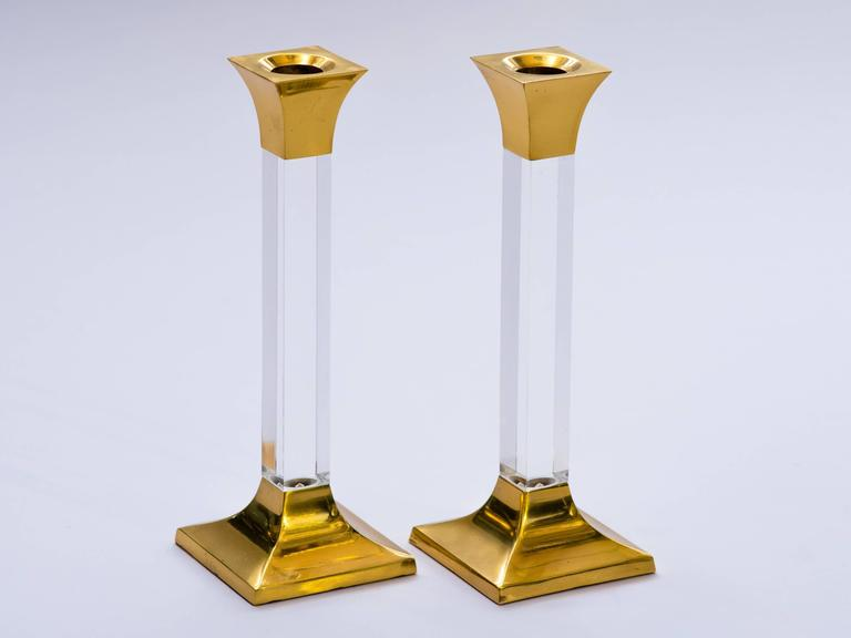 Pair of Vintage Brass and Lucite Candleholders 3