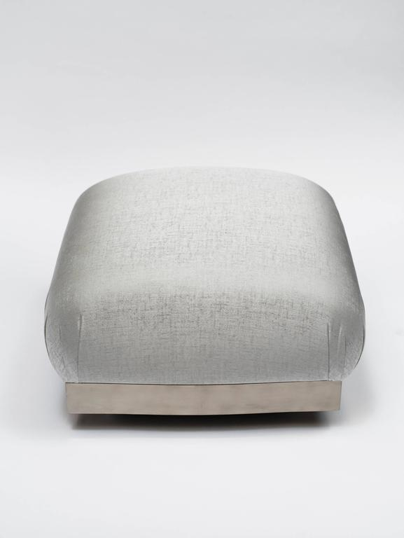 American Karl Springer Style Oversized Ottoman or Pouf with Soufflé Design For Sale