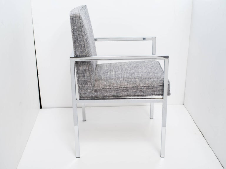 American 1970's Milo Baughman Chrome Desk Chair Upholstered in Rogers & Goffigon For Sale