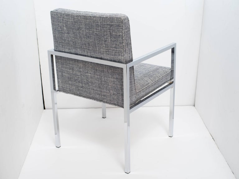 1970's Milo Baughman Chrome Desk Chair Upholstered in Rogers & Goffigon In Good Condition For Sale In Miami, FL