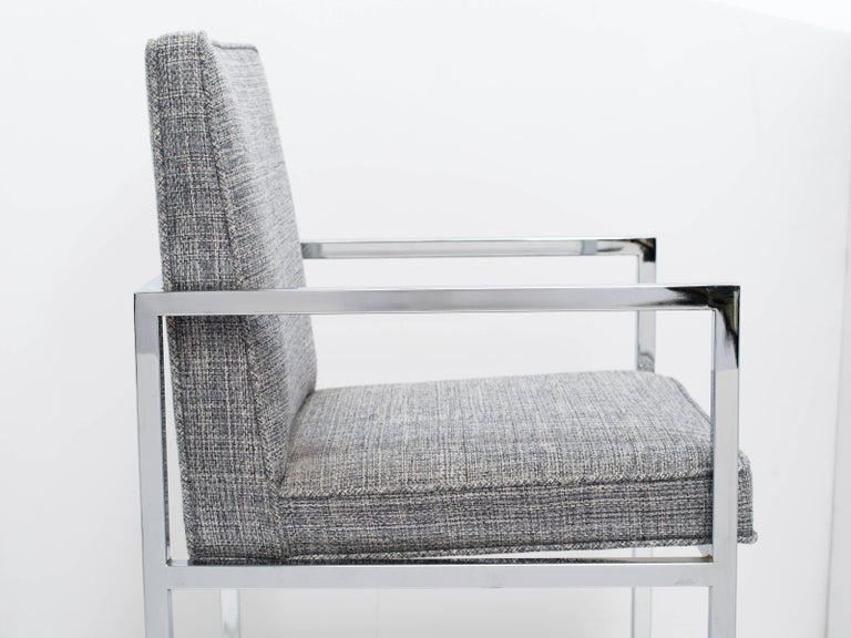 1970's Milo Baughman Chrome Desk Chair Upholstered in Rogers & Goffigon For Sale 1