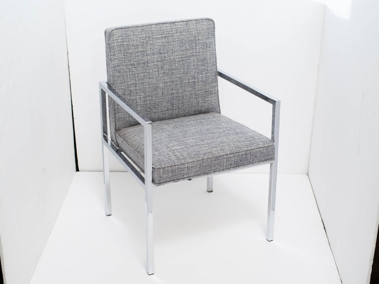 1970's Milo Baughman Chrome Desk Chair Upholstered in Rogers & Goffigon For Sale 4