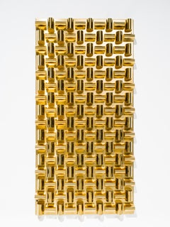 Cubist Brass Wall Sculpture with Faceted Metalwork