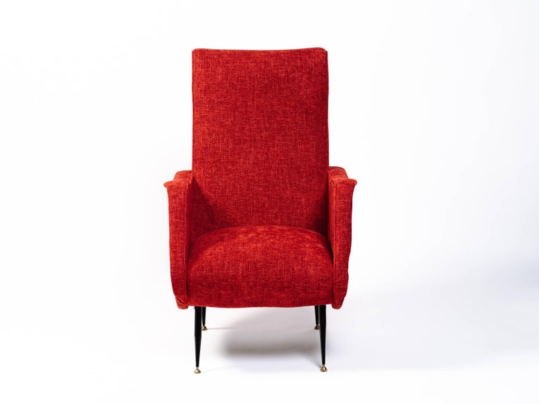 Hand-Woven Italian Mid-Century Modern Lounge Chair in Vibrant Woven Red For Sale