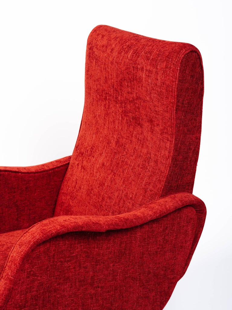 Mid-20th Century Italian Mid-Century Modern Lounge Chair in Vibrant Woven Red For Sale