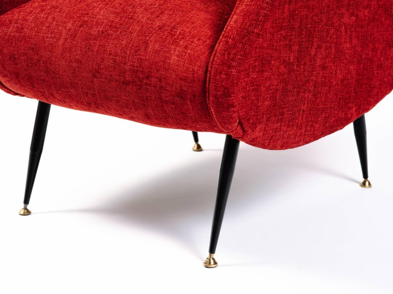 Upholstery Italian Mid-Century Modern Lounge Chair in Vibrant Woven Red For Sale