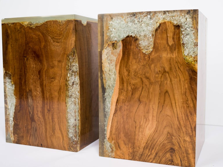 Contemporary Organic Teak Wood and Cracked Resin Cube Table For Sale