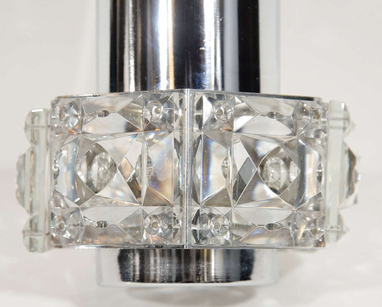 Austrian Midcentury Faceted Cut Crystal and Chrome Sconce by Kinkeldey For Sale