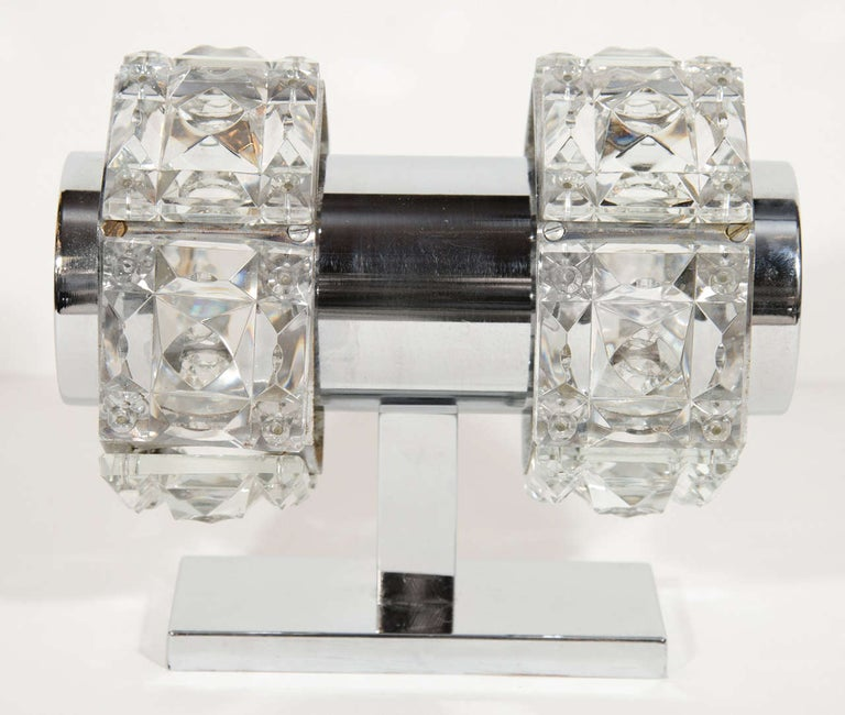 Mid-20th Century Midcentury Faceted Cut Crystal and Chrome Sconce by Kinkeldey For Sale