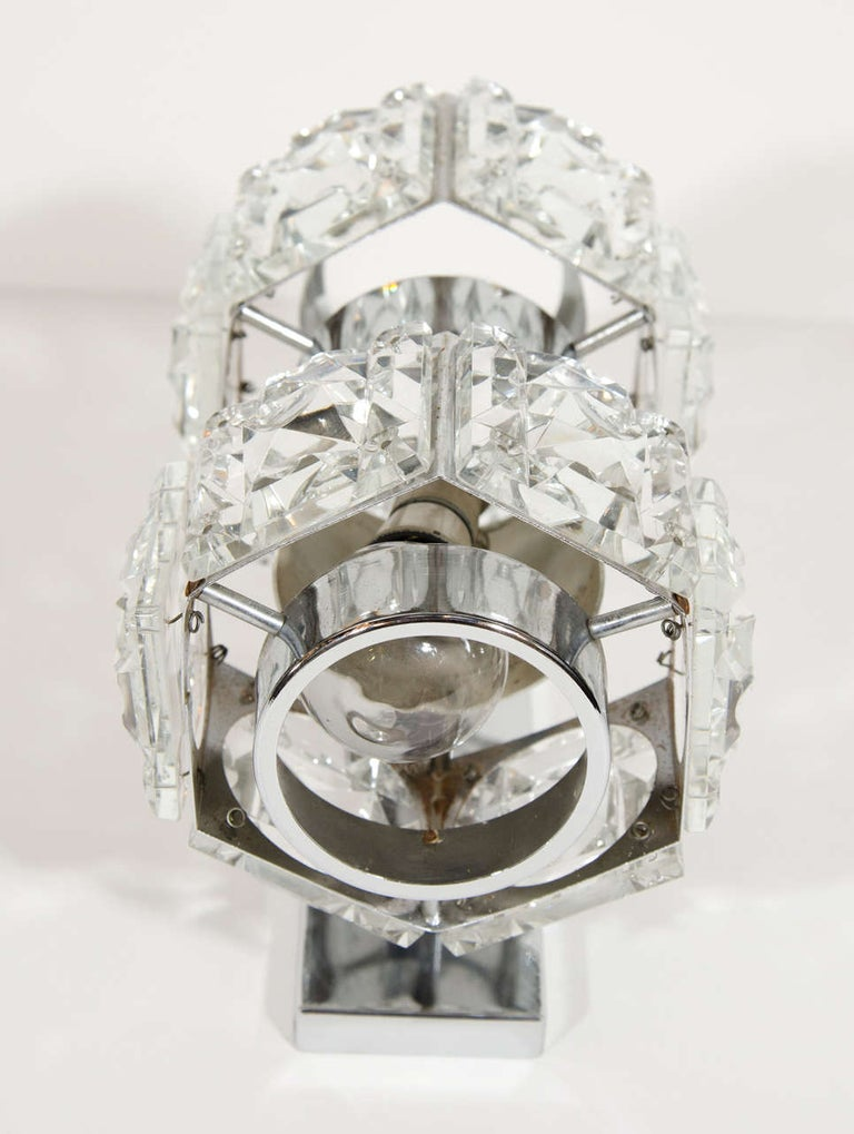 Midcentury Faceted Cut Crystal and Chrome Sconce by Kinkeldey For Sale 2