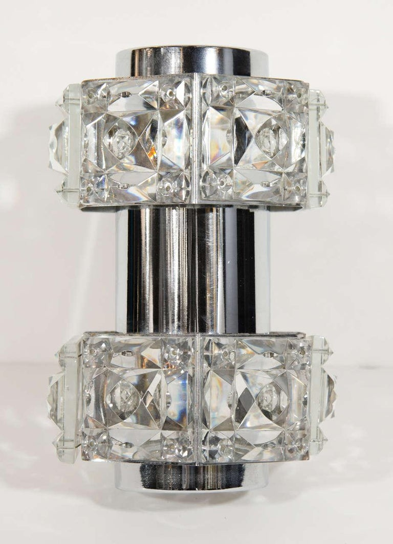 Midcentury Faceted Cut Crystal and Chrome Sconce by Kinkeldey In Good Condition For Sale In Stamford, CT