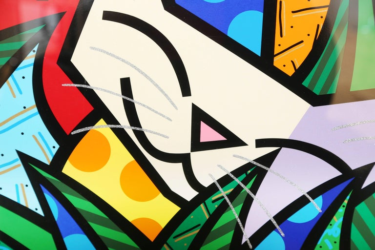 Modern Behind the Bushes, Limited Edition Art Serigraph by Romero Britto For Sale